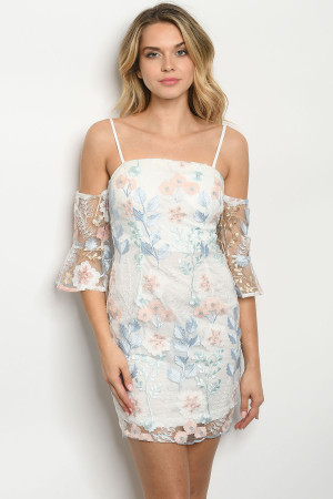 S12-8-1-D10853 IVORY BLUE FLORAL EMBROIDERY DRESS 2-2-2
