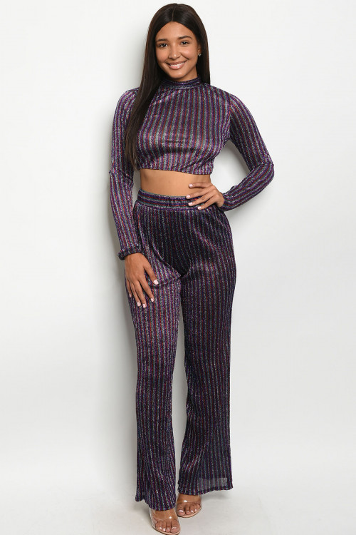 C22-A-3-SET4169 PURPLE MULTI STRIPES SHIMMER TOP & PANTS SET 3-2-1  ***WARNING: California Proposition 65***