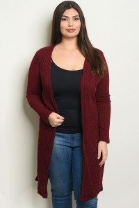 S10-15-4-C7461X BURGUNDY PLUS SIZE CARDIGAN 2-2-2