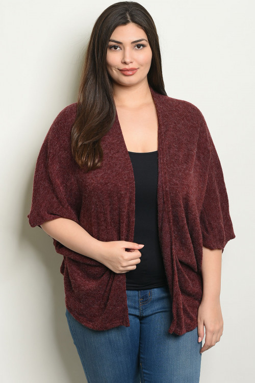 S10-10-4-C7721X BURGUNDY PLUS SIZE CARDIGAN 2-2-2