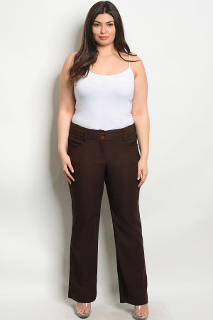 S9-2-2-P5810X BROWN PLUS SIZE PANTS 2-2-2