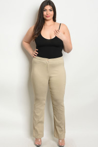 S18-4-3-P5810X-1X TAUPE PLUS SIZE PANTS 2-2-2