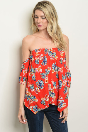 f69c3232d2d Quick View this Product S9-10-3-T11369 TOMATO FLORAL OFF SHOULDER TOP 2-2-