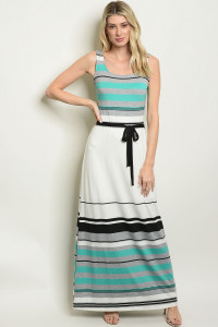 S17-2-4-D7842 IVORY MINT STRIPES DRESS 1-1-1