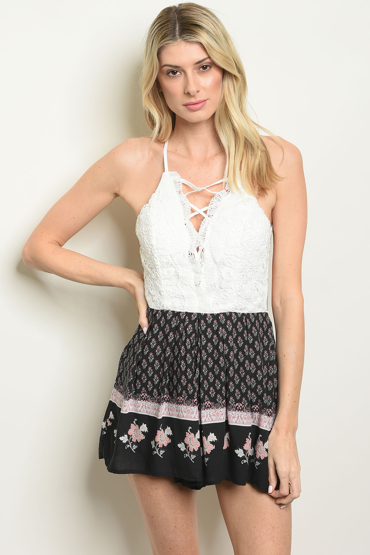 935356fb0934 ... WHITE BLACK FLORAL ROMPER 3-3-2 · Larger Photo ...