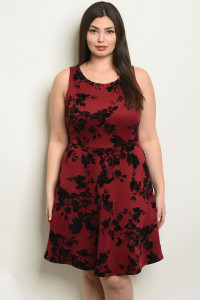 C99-A-7-D14443X BURGUNDY PLUS SIZE DRESS 1-2-2-1