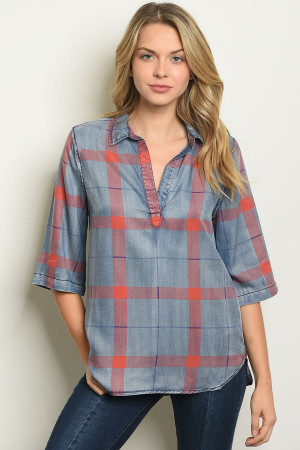 S17-9-2-T2036 BLUE RED CHECKERED TOP 2-2-2