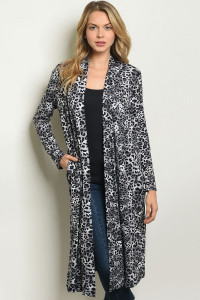 S17-3-3-C50185 GRAY BLACK ANIMAL LEOPARD PRINT CARDIGAN 1-1-1