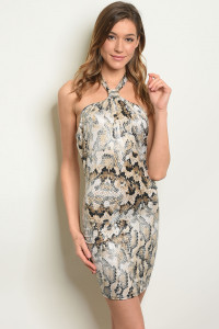 S17-1-3-D11264 BLACK TAUPE SNAKE PRINT DRESS 1-1-1