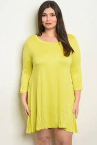 S17-1-3-T2411X LIME PLUS SIZE DRESS 1-1-1