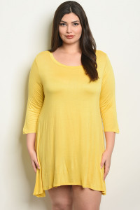 C89-A-3-T2411X YELLOW PLUS SIZE DRESS 2-2-2