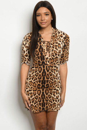 S22-13-4-D10165 BROWN LEOPARD ANIMAL PRINT DRESS 2-2-2