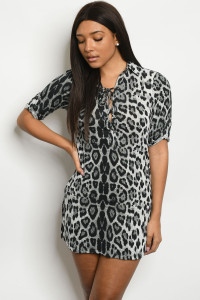 S22-13-4-D10165 GRAY LEOPARD ANIMAL PRINT DRESS 2-2-2