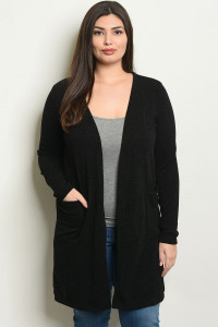 C41-A-7-C1430X BLACK PLUS SIZE CARDIGAN 2-2-2