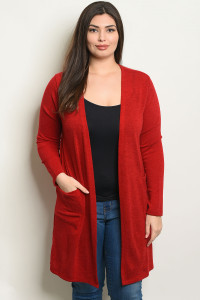 C39-A-5-C1430X RED PLUS SIZE CARDIGAN 2-2-2