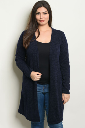 C37-A-2-C1430X NAVY PLUS SIZE CARDIGAN 2-2-2