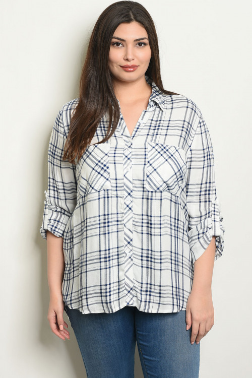 C28-B-3-T3327X  OFF WHITE NAVY CHECKERED PLUS SIZE TOP 1-3-1
