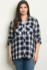 C32-A-2-T3396X NAVY WHITE CHECKERED PLUS SIZE TOP 1-2-1