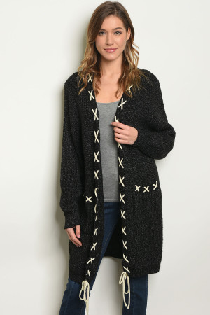 S19-12-3-C20110 BLACK CARDIGAN / 7PCS