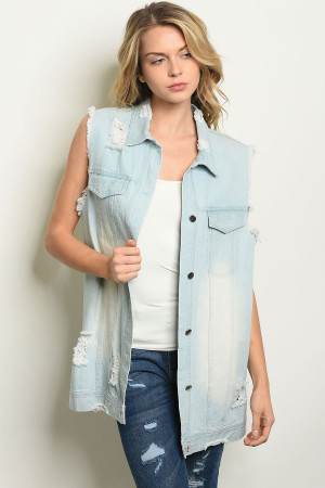 S19-10-3-V6407 LIGHT BLUE DENIM VEST 2-2-1