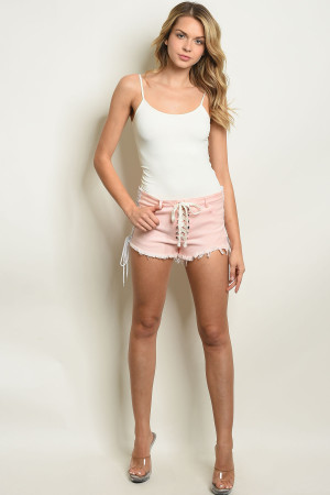 S24-2-4-S6581 PINK WHITE SHORTS 3-2-1