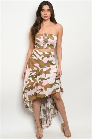 S19-10-3-SET20548 PINK CAMOUFLAGE TOP & SKIRT SET 2-3-2