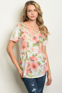 C81-B-4-T7076 IVORY FLORAL TOP 2-2-2