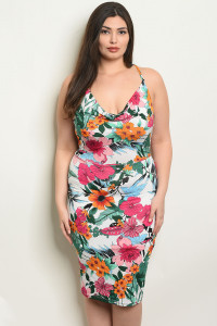C71-A-6-D23053X IVORY FLORAL PLUS SIZE DRESS 3-2-1