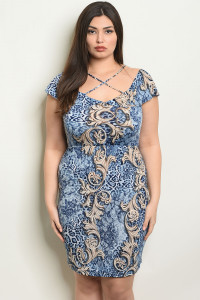 C80-A-5-D6283X BLUE TAUPE PLUS SIZE DRESS 2-2-2
