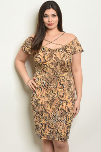 C84-A-6-D6283X CAMEL BLACK PLUS SIZE DRESS 2-2-2