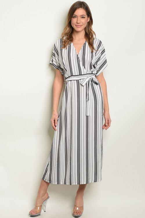 S10-9-1-D15372 WHITE BLACK STRIPES DRESS 2-2-2