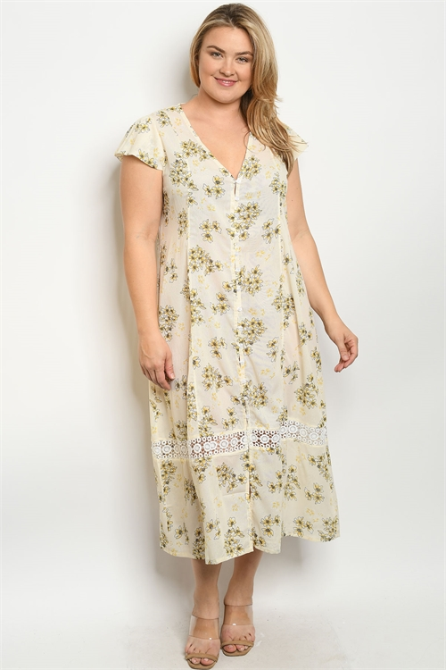 S7-7-2-D5618X CREAM FLORAL PLUS SIZE DRESS 2-2-2