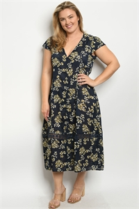 S7-7-2-D5618X NAVY FLORAL PLUS SIZE DRESS 2-2-2