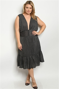 S7-7-2-D5599X BLACK STRIPES PLUS SIZE DRESS 2-2-2