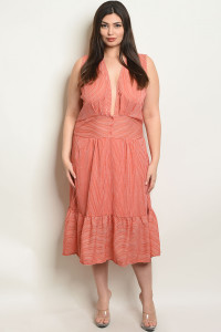 S7-7-2-D5599X CORAL STRIPES PLUS SIZE DRESS 2-2-2