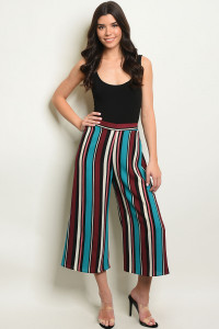 C66-A-4-P9690 TEAL MULTI STRIPES PANTS 2-2-2