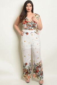 S7-10-1-J25520X OFF WHITE FLORAL PLUS SIZE JUMPSUIT 2-2-2
