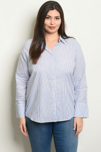 S9-6-4-T81081X BLUE WHITE STRIPES PLUS SIZE TOP 2-2-2