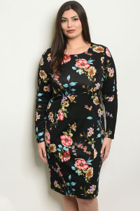 S17-2-2-D51593X BLACK FLORAL PLUS SIZE DRESS 1-1-1