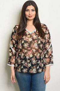 S7-9-2-T25574X BLACK FLORAL PLUS SIZE TOP 2-2-2