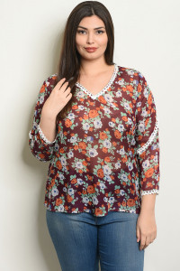 S7-9-2-T25574X WINE FLORAL PLUS SIZE TOP 2-2-2