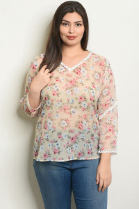 S7-9-2-T25574X TAUPE FLORAL PLUS SIZE TOP 2-2-2