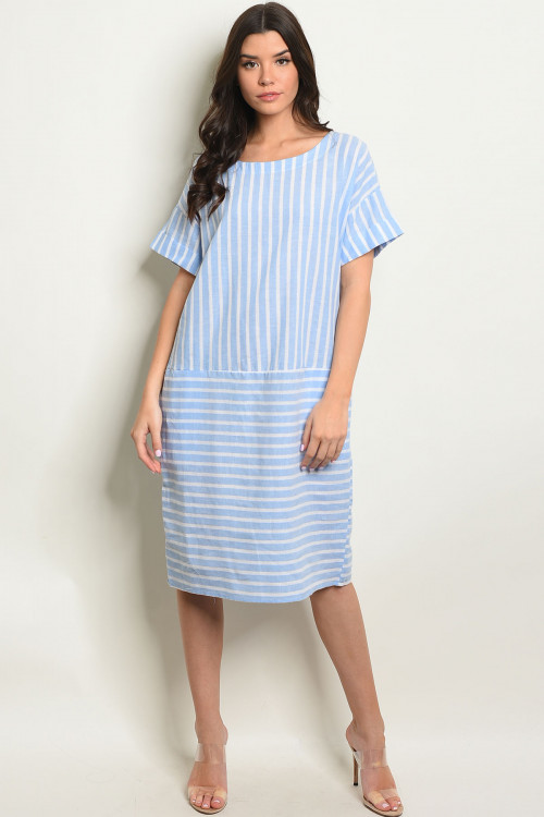 C81-A-4-D10306 BLUE WHITE STRIPES DRESS 2-2-2