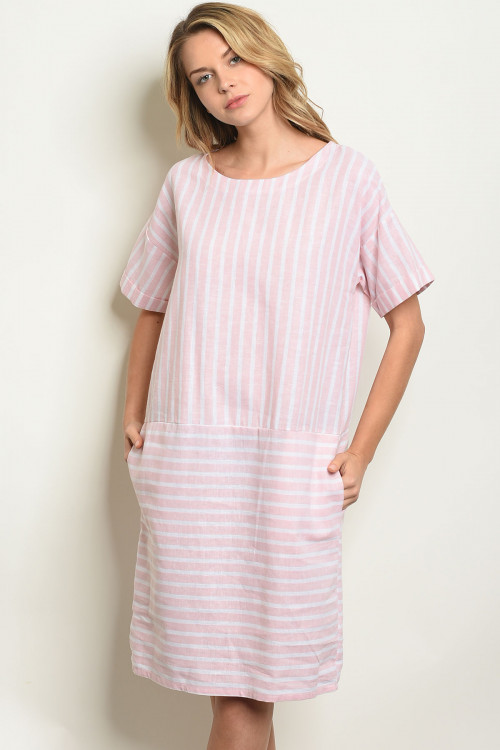 C82-A-2-D10306 BLUSH WHITE STRIPES DRESS 2-2-2