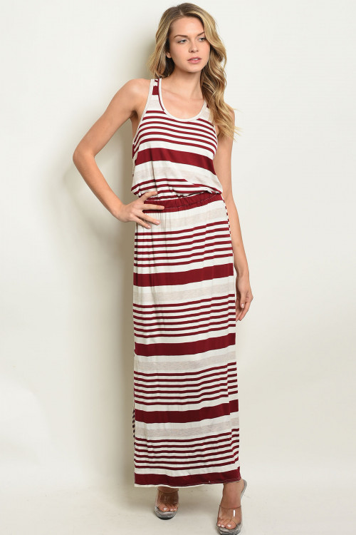 C86-A-6-D831 BURGUNDY IVORY STRIPES DRESS 2-2-2