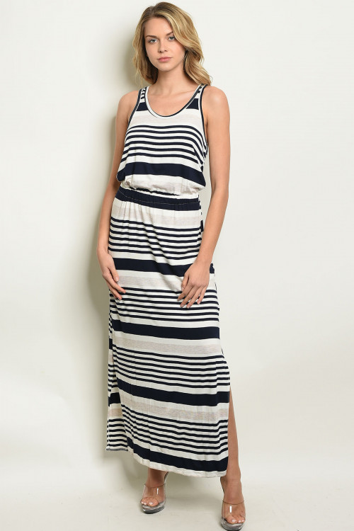 C86-A-2-D831 NAVY IVORY STRIPES DRESS 2-2-2