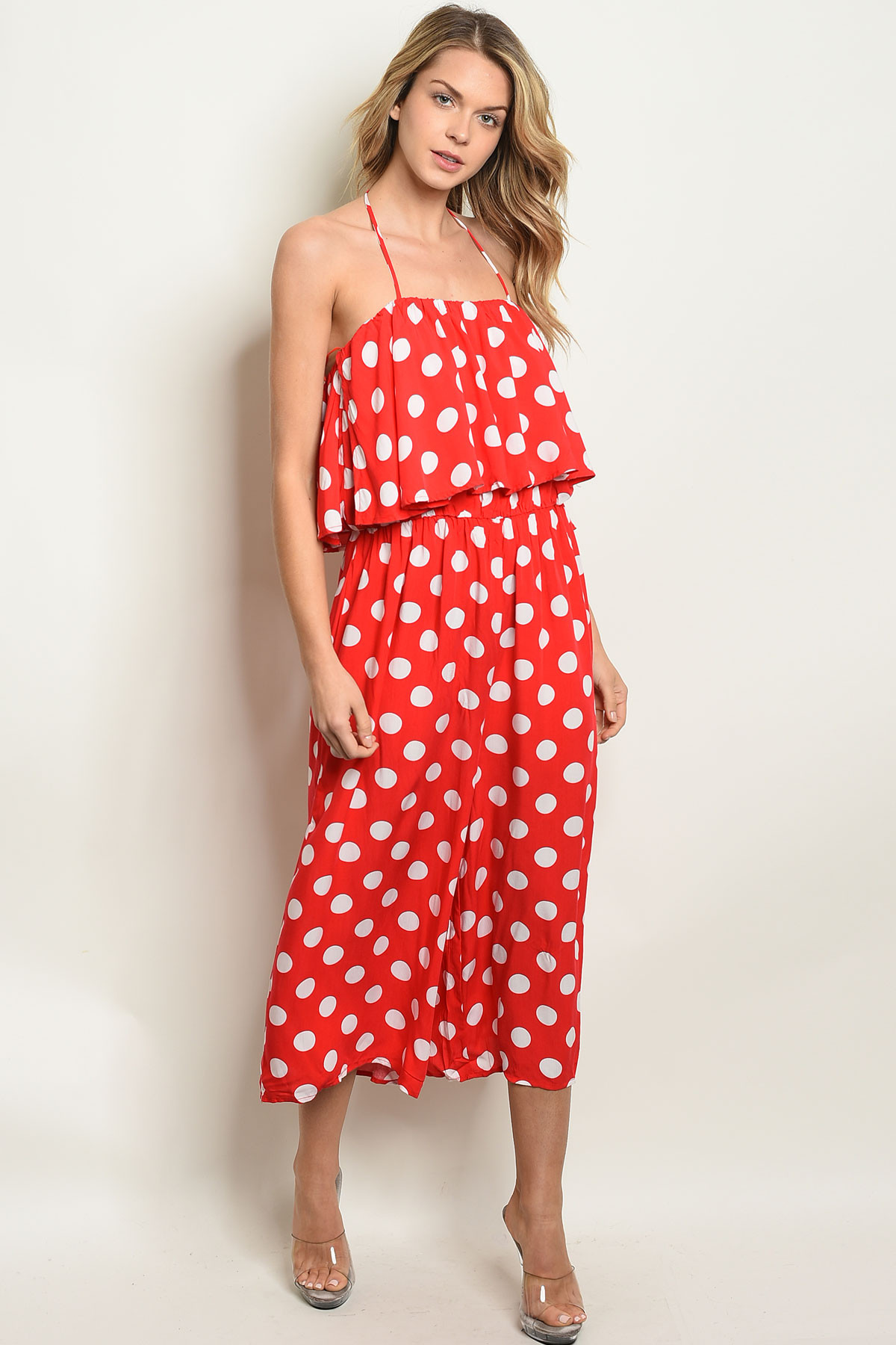 03cc6534a7 S25-5-4-J90038 RED WHITE WITH POLKA DOTS JUMPSUIT 2-2-2