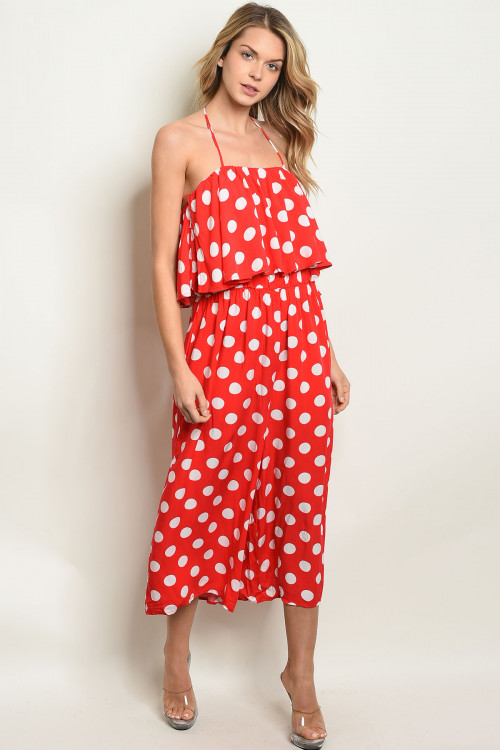 S25-5-4-J90038 RED WHITE WITH POLKA DOTS JUMPSUIT 2-2-2