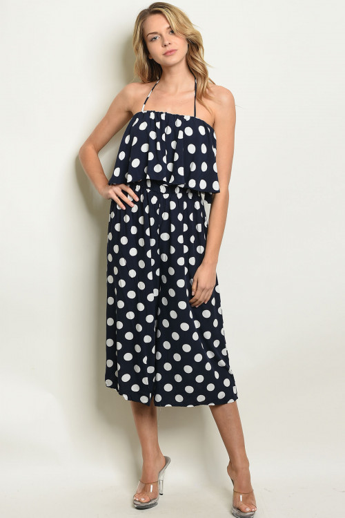 S25-5-4-J90038 NAVY WHITE WITH POLKA DOTS JUMPSUIT 2-2-2