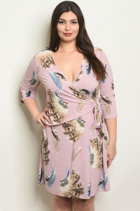 C38-A-1-D41561X MAUVE WITH FEATHER PRINT PLUS SIZE DRESS 3-2-2